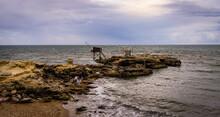 Jetée Avec Cabane De Pêcheurs - Bord De Mer - Saint Palais - Mer - Début De Soirée