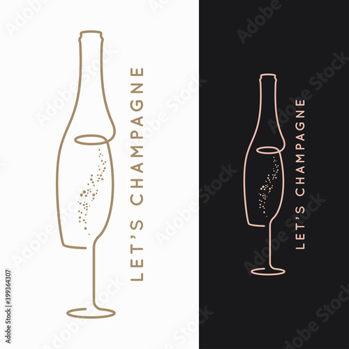 Fotografija Champagne bottle logo. Glass of champagne on black