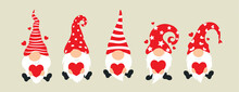 Set Of Cartoon Gnomes. Collection Of Cute Christmas Gnomes Holding Hearts. Funny Characters In Love For Children And Couples. Vector Illustration