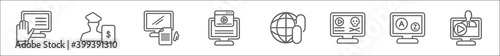 Fototapeta outline set of e learning and education line icons. linear vector icons such as raise hand, business education, blended learning, video tutorial, links, paleontology, vocabulary, lecture obraz