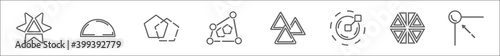 Fototapeta outline set of geometric figure line icons. linear vector icons such as star ornament of triangles, semicircle, intersection, distort, triple triangle, radius, triangle inside hexagon, edit corner obraz