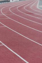 Red Track At Athletics Stadium