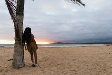 Silhouette Of A Girl In A Palm Beach