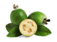 Whole And Cut Feijoa Fruits On White Background