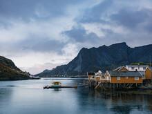 Yellow Rorbu House In Lofoten Islands