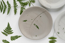 Artisan Ceramics With Leaf Ornament