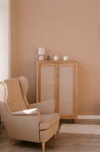 Armchair And Cabinet In Cozy Room