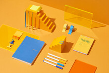 Stationery Stylish Set On Yellow Background.