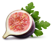 Ripe Fig Fruit With Green Leaf Isolated On White Background