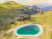 Aerial View Of Mountain Lake, Les Crosets, Switzerland.