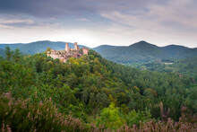 Germany, Rhineland-Palatinate, Ruins Of Altdahn Castle Surrounded By Green Forest