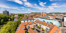 Germany, Baden-Wurttemberg, Heilbronn, Panorama Of Riverside City