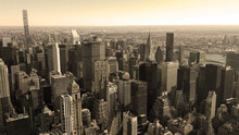 Black And White Aerial Top View Of Manhattan And Central Park New York City, USA