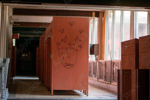 Fototapeta A Locker Room in an Abandoned School