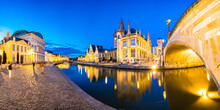 Panorama Of Graslei, Korenlei Quays And Leie River In The Historic City Center In Ghent (Gent), Belgium