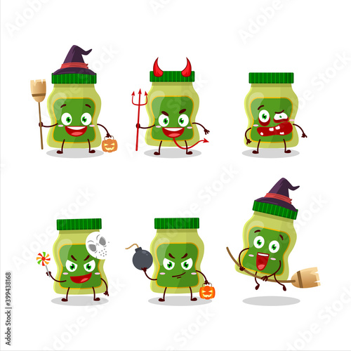 Canvas-taulu Halloween expression emoticons with cartoon character of wasabi