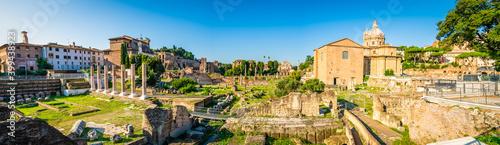 Obraz na plátně Roman Forum panorama. Rome ruins. Italy