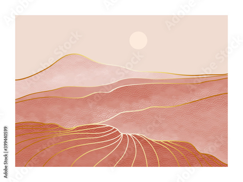 Abstract mountain landscape. creative minimalist hand painted illustrations of Mid century modern. Vector Geometric landscape background in asian japanese pattern