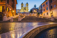 Spanish Steps In Rome At Dawn. Italy
