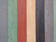 Wooden Background, Multicolored Wood Grain Picket Boards