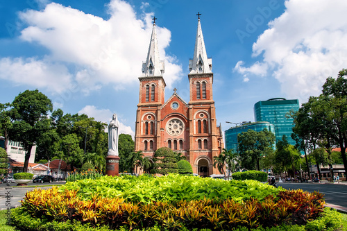Fotografie, Obraz Saigon Notre Dame Cathedral, built in the late 1880s by French colonists,  is most famous church in Ho Chi Minh City, Vietnam