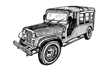 Hand Drawn Vector Tracing Old Timer Car, Doodle Sketch Graphics Monochrome Illustration On White Background
