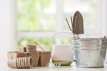 Set Of Gardening Supplies On Table