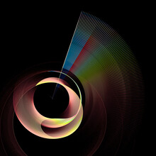 A Rainbow Abstract Fan Is Arranged Around A Beautifully Curved Plane In A Spiral. Graphic Design Element. 3d Rendering. 3d Illustration. Logo, Icon, Sign, Symbol.