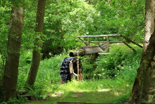 A View Of Traditional Wooden Waterwheel