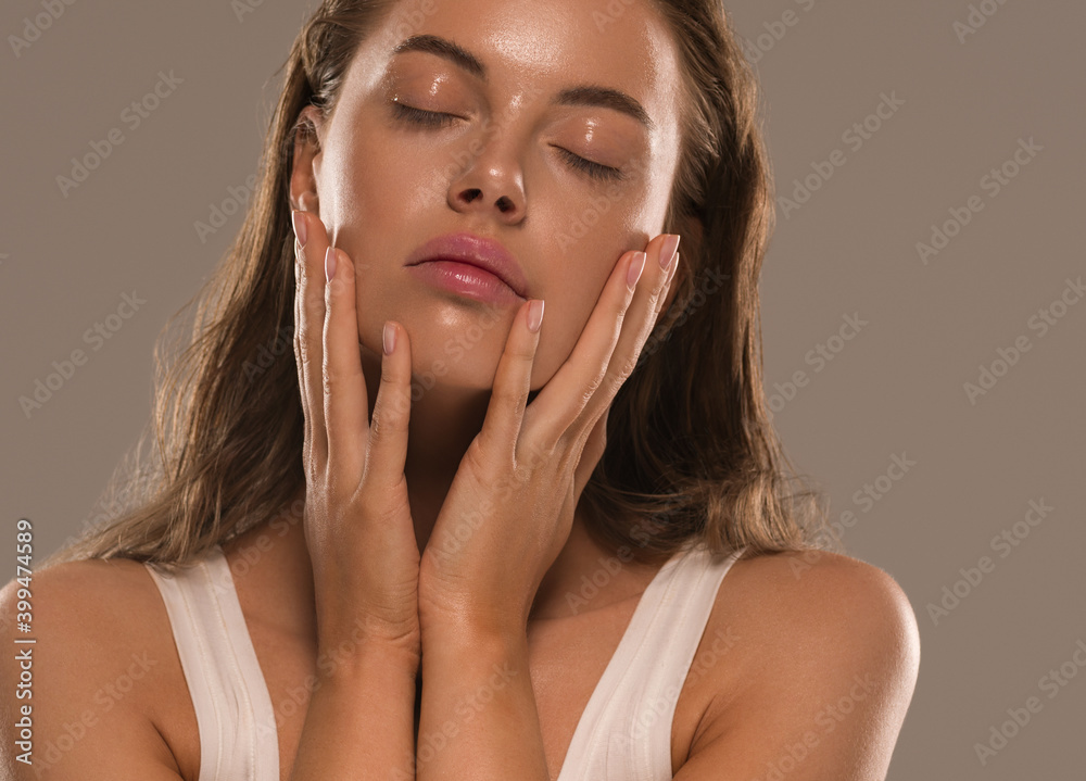 Fototapeta Woman beauty skin moisture spa face natural clean fresh make up close up