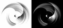 Monochrome Sharp Blades Of An Abstract Engine Rotate On White And Black Backgrounds. Graphic Design Elements Set. 3d Rendering. 3d Illustration. Logo, Icon, Sign, Symbol.