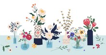 Beautiful Bouquets Of Cut Meadow And Garden Flowers In Ceramic And Glass Vases Standing On The Table. Elegant Bunches Of Wildflowers In Florist Shop. Vector Illustration In Flat Cartoon Style