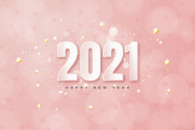 2021 Happy New Year Background With White Numbers On Pink Background.