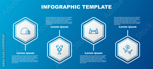 Set line Igloo ice house, Lobster, Capilano Suspension Bridge and Curling sport game. Business infographic template. Vector.