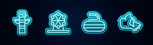 Set Line Canadian Totem Pole, Ferris Wheel, Stone For Curling And Canada Map. Glowing Neon Icon. Vector.