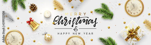 Fototapeta Christmas banner. Background Xmas objects viewed from above. Text Merry Christmas and happy New Year  obraz