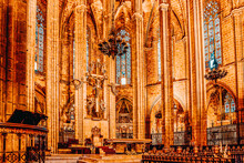 Inside Cathedral. Cathedral Of The Holy Cross And Saint Eulalia. Barcelona