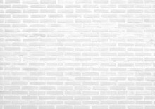 White Grey Brick-cement Wall Texture Background. New, Clean Stone Abstract Surface White Rough Brick Wall Pattern. White Concrete, Cement Brickwork. Blank Copy Space For Design Backdrop.