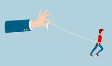Human Hand Holds A Running Man On A Rope Vector Illustration. A Man Is Bundled With Huge Hands. Freedom Restriction, Customer Retention Concept. Business Manipulation, Desire Not To Let Go People