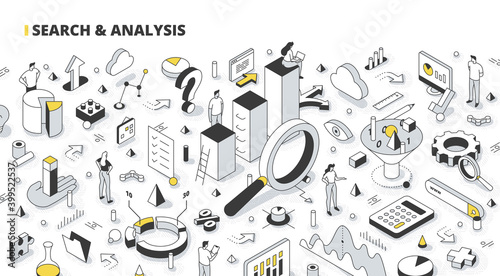 Search & Analysis Isometric Outline Illustration