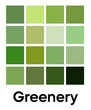 Palette of Greenery tones. Green color template. Shades of fresh, leaves, verdure, vegetable color. Vector colored pattern for textiles and interior design, fashion and beauty industry