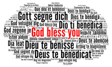 God Bless You Word Cloud In Different Languages