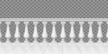 Realistic Balustrade. Marble Balustrade, Terrace, Porch Or Balcony Railing, Fencing Sections With Balusters. Stone Handrail Vector Illustration Set. Building Balustrade Terrace, Architecture Exterior