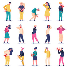People In Pain. Suffering From Pain Male And Female Characters, Headache, Stomach, Spine Back Pain. Painful Areas Vector Illustrations. Male And Female Pain, Headache And Painful