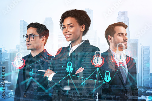 Vászonkép Group of business colleagues as a part of multinational corporate team working on project to protect clients information at cybersecurity compliance division
