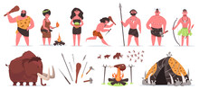 Primitive People. Stone Age Prehistoric Caveman Characters With Stone Or Wooden Weapon. Caveman Hunting And Collecting Vector Illustration Set. Cartoon People Ancient, Evolution Neanderthal
