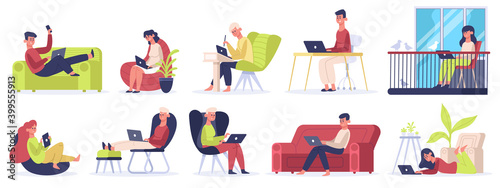 Obraz Freelance workers. People working on laptops and computers from home, comfortable freelance workplace. Self employed vector illustration set. Comfortable isolation, workspace cozy using at workplace - fototapety do salonu