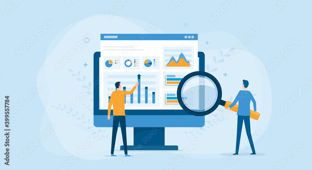 Fototapeta flat vector business people working for data analytics and monitoring on web report dashboard monitor and business finance investment concept