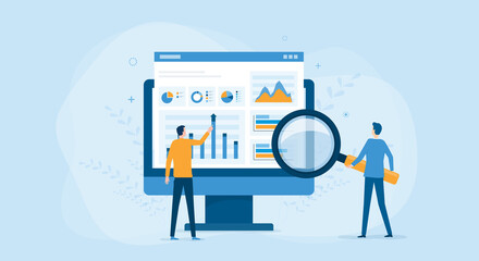 flat vector business people working for data analytics and monitoring on web report dashboard monitor and business finance investment concept