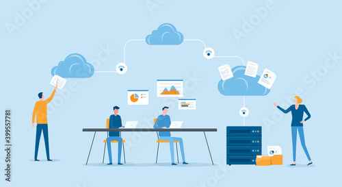 Obraz flat vector illustration business technology cloud computing service concept and with developer team working and meeting concept - fototapety do salonu